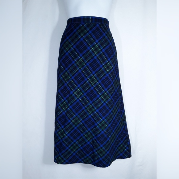 Basic Editions Dresses & Skirts - Blue, Black, and Green Plaid Maxi Long Skirt